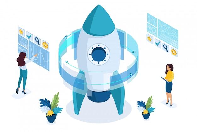 Início isométrico de um projeto de negócios, uma empresária trabalhando em uma tela virtual.