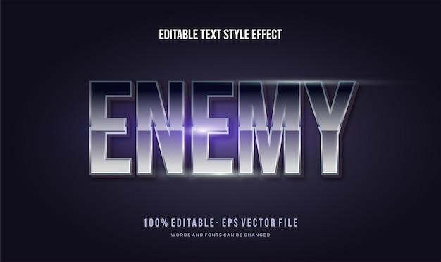 Inimigo com efeito de estilo de texto editável de cor gradiente de cromo