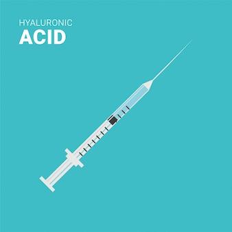 Injeção de ácido hialurônico, ilustração vetorial de seringa fina