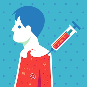 Injeção de vacina na ilustração do corpo.