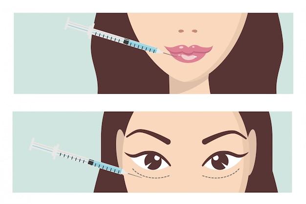 Injeção facial de ácido hialurônico