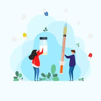 Injeções de insulina. mulher e homem segurando uma seringa de injeção. vacinação contra a gripe. seringa de injeção. conceito de saúde de medicina. formação médica