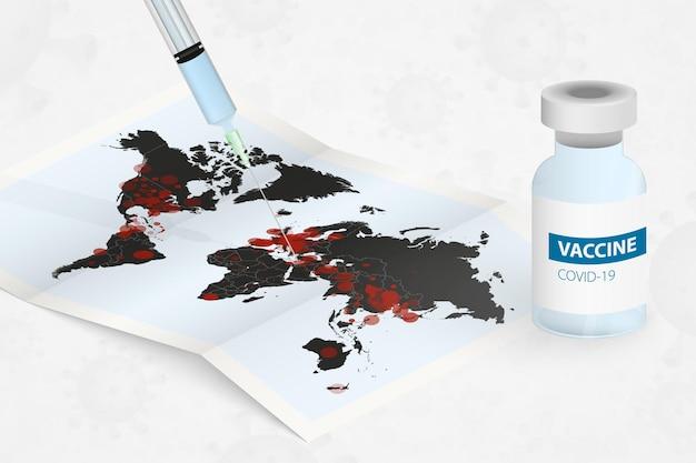 Injetando uma seringa com vacina em um mapa-múndi infectado