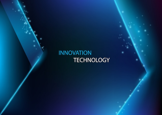 Inovação abstrata e tecnologia com o fundo da seta de um raio.