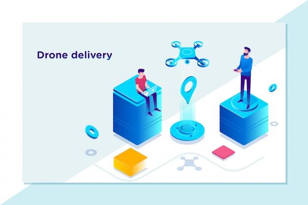 Inovação de entrega tecnológica moderna - conceito de entrega rápida drone