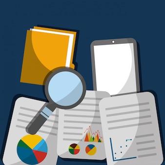 Inovação de pesquisa de dados móveis pasta de arquivos de documentos