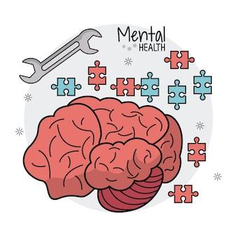 Inovação de quebra-cabeça cerebral de saúde mental