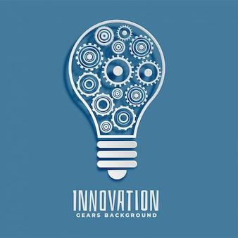 Inovação e idéia bub e engrenagens de fundo