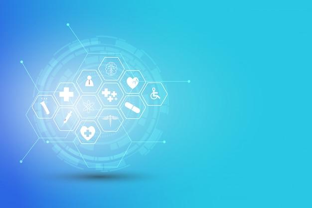 Inovação médica de padrão de ícone de cuidados de saúde