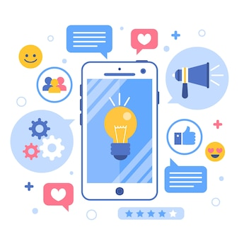 Inovação on-line e conceito de telefone celular de marketing de brainstorming