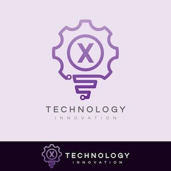 Inovação tecnológica inicial carta x design do logotipo