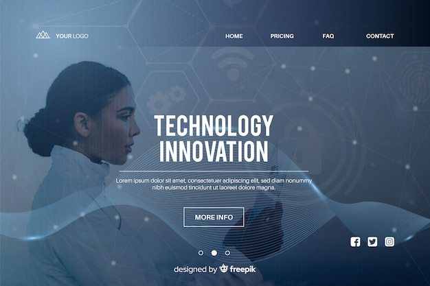 Inovação tecnológica, página de destino com foto