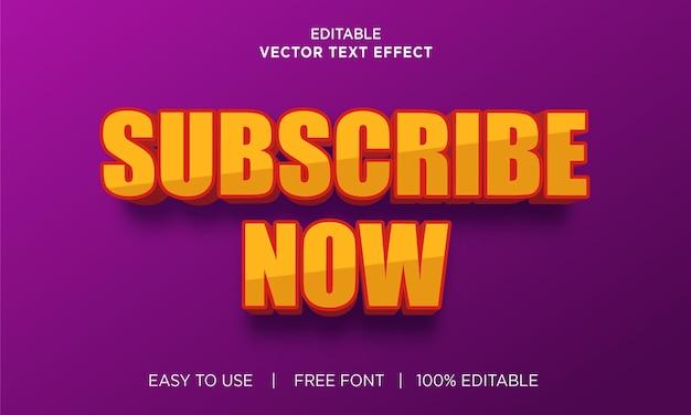 Inscreva-se agora com efeito de texto editável com vetor premium
