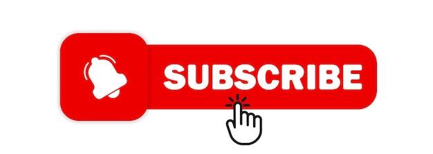 Inscreva-se com o cursor. botão de sino e cursor de mão. botão subscrever. marketing.