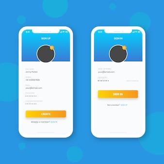 Inscreva-se e inscreva-se com telefone inteligente, design de interface de usuário