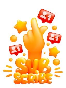 Inscreva-se no modelo de etiqueta com a mão emoji amarelo fazendo sinal de gesto de k-pop. estilo dos desenhos animados 3d