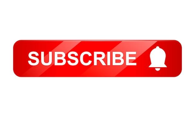 Inscreva-se o ícone de botão com sino em fundo branco, ícone 3d, ilustração realista
