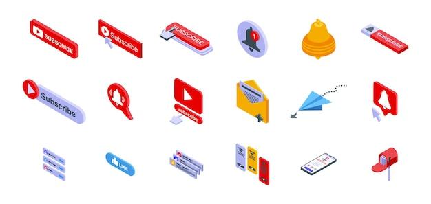 Inscrever o conjunto de ícones. conjunto isométrico de ícones de inscrição para web design isolado no fundo branco
