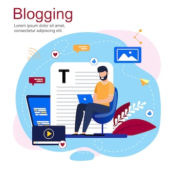 Inscrição blogging cartoon e homem de barba sentado na cadeira com laptop
