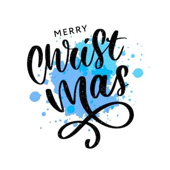 Inscrição caligráfica de feliz natal decorada com estrelas douradas e grânulos