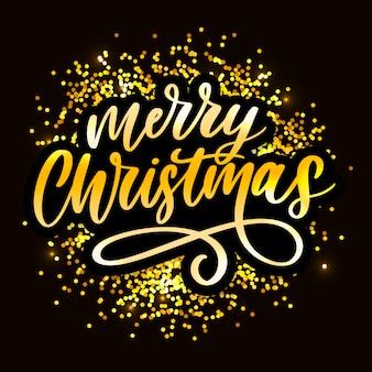Inscrição caligráfica de feliz natal decorada com moldura dourada