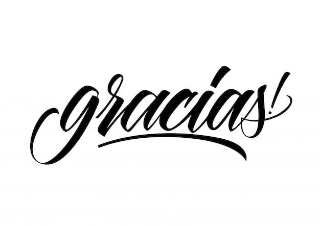 Inscrição caligráfica gracias