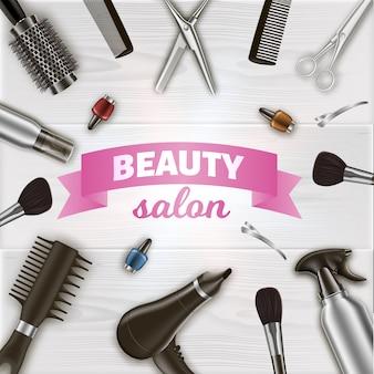 Inscrição centrada em torno de ferramentas de cabeleireiro