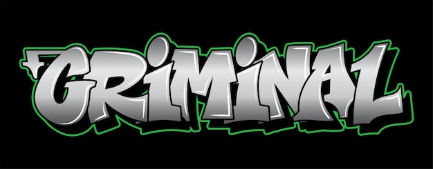 Inscrição criminal graffiti letras decorativas vandalismo street art free wild style na ação ilegal urbana da cidade de parede usando tinta spray em aerossol. ilustração subterrânea do tipo hip-hop.
