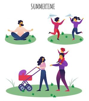 Inscrição de banner plana rotulação de horário de verão.