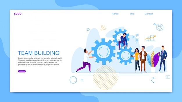 Inscrição de banner plana team building cartoon