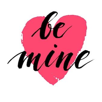 Inscrição de caligrafia desenhada mão sobre amor com coração vermelho. dia dos namorados ilustração.