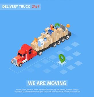 Inscrição de caminhão de entrega de bandeira estamos nos movendo