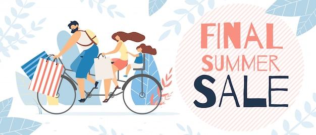 Inscrição de cartaz informativo final venda de verão.