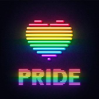Inscrição de coração e orgulho em néon com as cores da comunidade lgbt