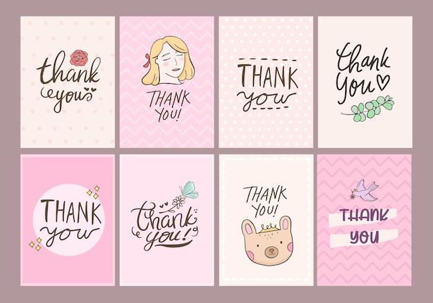 Inscrição de etiqueta de cartão de agradecimento.
