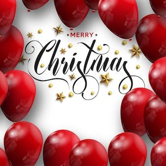 Inscrição de feliz natal decorada com balões vermelhos
