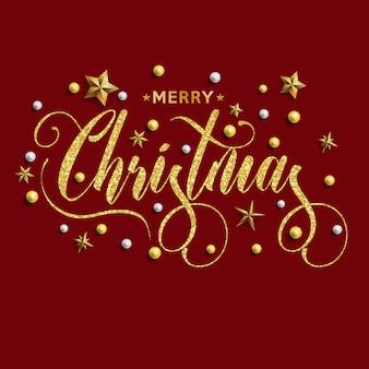 Inscrição de feliz natal decorada com estrelas de ouro