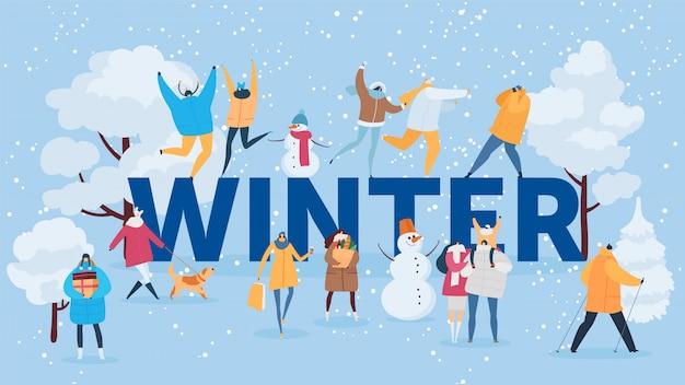 Inscrição de inverno e pessoas ao ar livre atividade banner