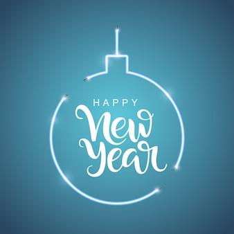 Inscrição de letras feliz ano novo