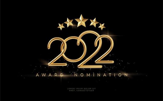 Inscrição de metal dourado realista 2022. letras de caligrafia de ouro ano novo 2022 em preto