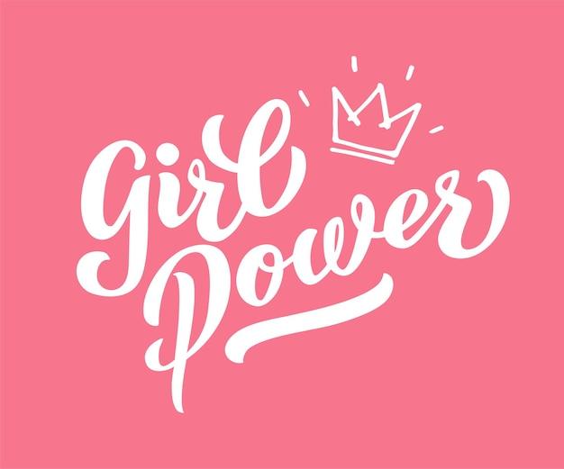 Inscrição de poder feminino escrita à mão com a fonte rosa brilhante grl power letras de mão