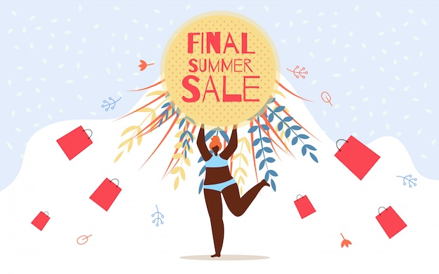 Inscrição de publicidade flyer final venda de verão