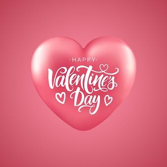 Inscrição de rotulação do script de feliz dia dos namorados. cartão de letras de mão. caligrafia moderna para dia dos namorados, coração 3d.