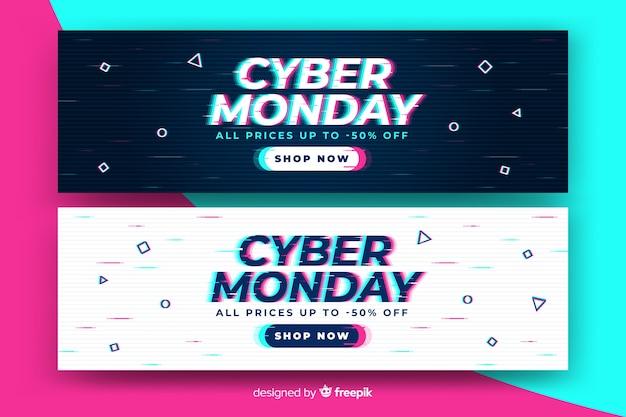 Inscrição de segunda-feira cibernética no estilo de falha distorcida