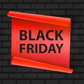Inscrição de sexta-feira negra em um fundo de tijolo. conceito de venda, liberação e desconto