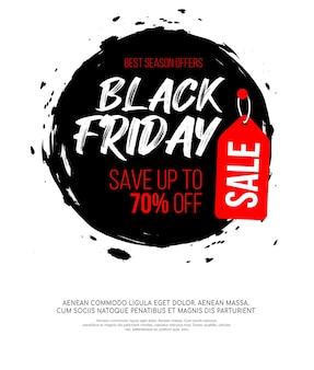 Inscrição de sexta-feira negra na mancha redonda de tinta preta abstrata para venda e desconto