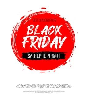 Inscrição de sexta-feira negra na mancha redonda de tinta vermelha abstrata para venda e desconto