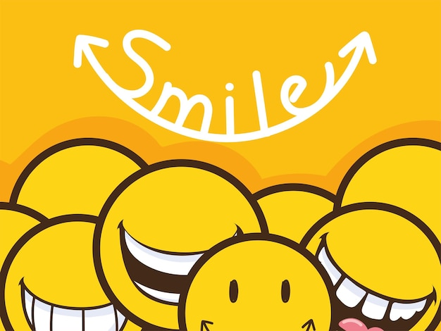 Inscrição de sorriso e emojis