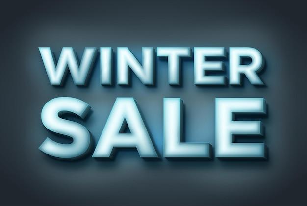 Inscrição de venda de inverno 3d texto brilhante inscrição de gelo