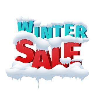 Inscrição de vetor 3d de venda de inverno em fundo branco. desconto para compras no varejo. ilustração em vetor de legenda de venda de inverno
